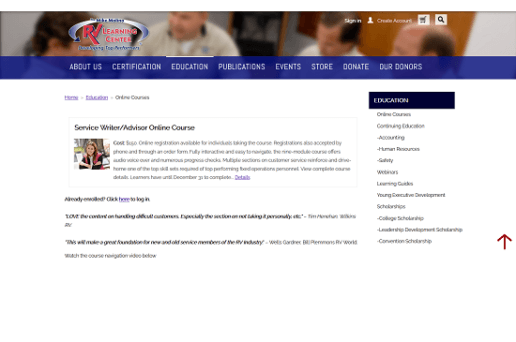 a screenshot of the registration page for the Service Writer/Advisor Online course, offered by the Mike Molino RV Learning Center. The picure shows text about the class on a web page