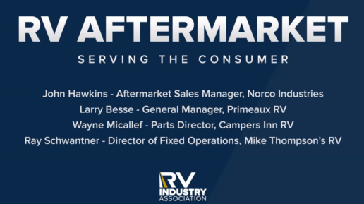 "A PowerPoint slide that says, ""RV Aftermarket. Serving the Consumer. John Hawkins - Aftermarket Sales Manager, Norco Industries. Larry Besse - general manager, Primeaux RV. Wayne Micallef - Parts Director, Campers Inn RV. Ray Schwantner - Director of Fixed Operations, Mike Thompson's RV"