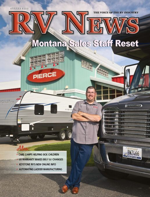 The front cover of the August 2020 edition of RV News Magazine