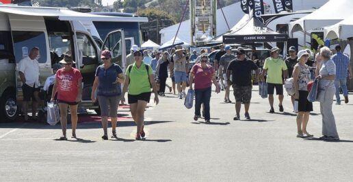 Consumers look at RVs at the California RV Show