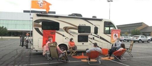 professor holds office hours outside his RV