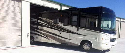 A picture of an RV in a storage unit