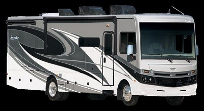 An exterior picture of Fleetwood RV's 2021 Bounder Type A Gas Anniversary Edition motor home