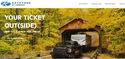 A picture of the Keystone consumer website homepage captured in a screenshot