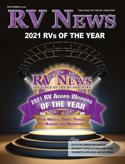Picture of the front cover of the November 2020 issue of RV news magazine.
