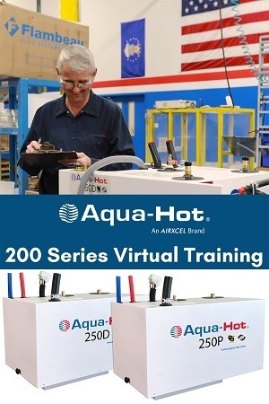 A picture of Airxcl's announcement about Aqua-Hot virtual training in February 2021