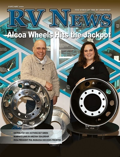 A picture of the RV News January 2021 cover with Alcoa Wheels featured