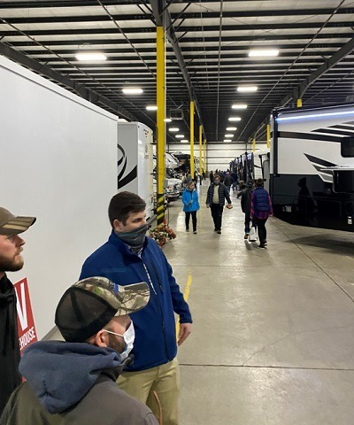 A picture of the inside of the West Michigan RV show