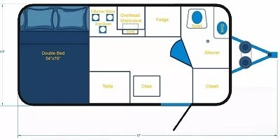 Cortes Campers travel trailer floorplan