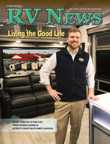 A picture of the RV News February 2021 cover with Good Life RV featured