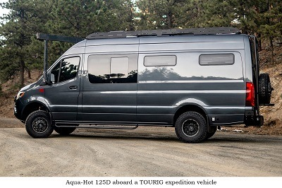 A picture of a TOURIG expedition vehicle with Aqua-Hot standard heating