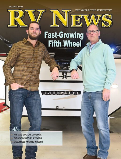 A picture of the cover of the March 2021 issue of RV News