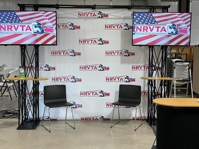 A picture of an NRVTA show booth at the FMCA international convention and rv expo