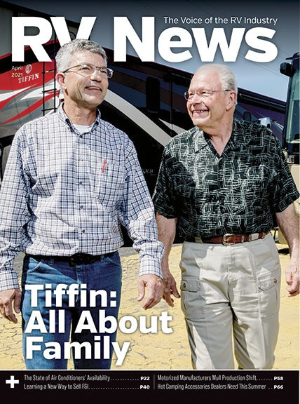 A picture of the cover of the April 2021 RV News magazine issue