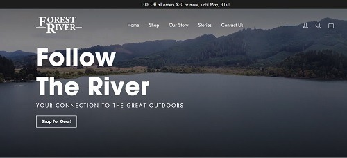 A picture of Forest River's new e-commerce website homepage
