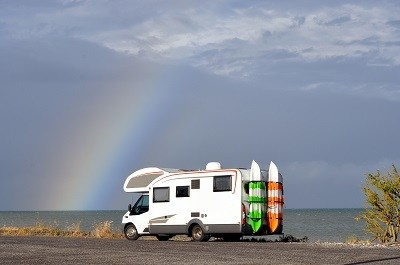 A picture of a general RV by the ocean