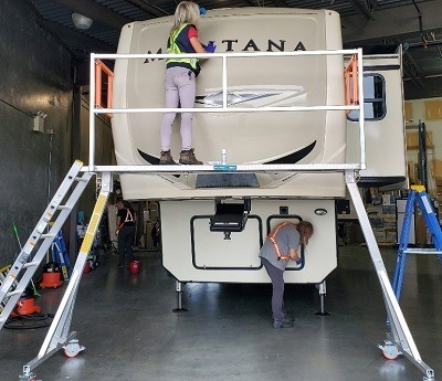 A picture of the Easy Access RV Detailer work platform