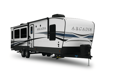 A picture of the Keystone Arcadia 370RL travel trailer exterior