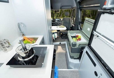 A picture of the Pleasure Way Recon 4x4 kitchen area