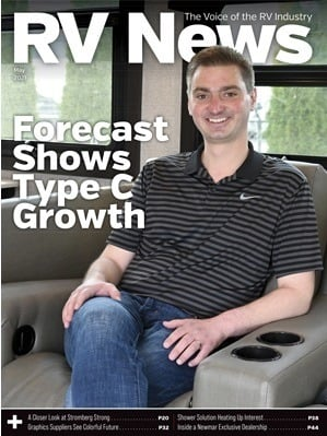 A picture of the RV News Magazine May 2021 cover