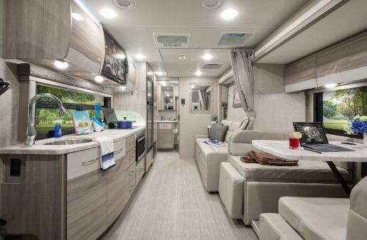 A picture of Thor Motor Coach interior upgrades in a Type C motorhome