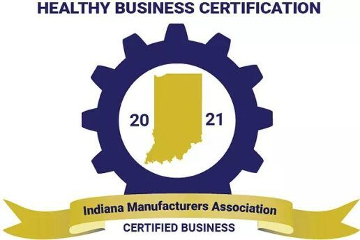 A picture of the Indiana Manufacturers Assocation healthy business certification logo