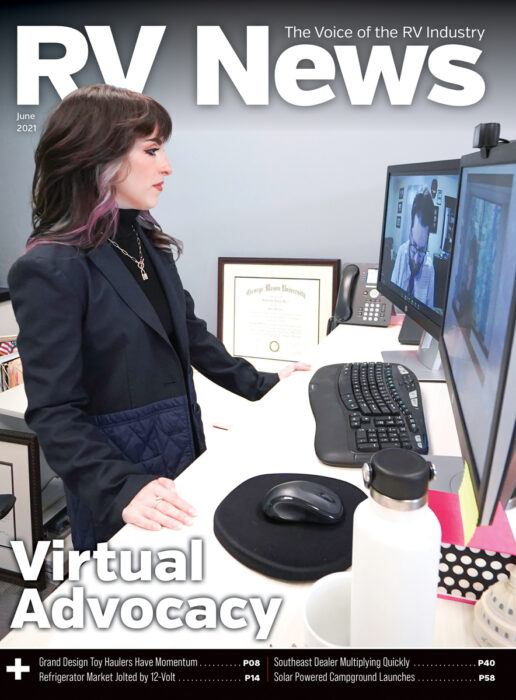 A picture of the cover of the June 2021 issue of RV News