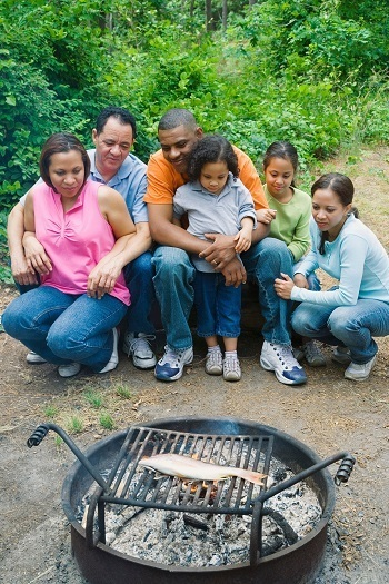 A picture of a family in Michigan camping together