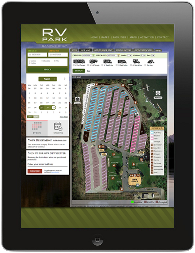 A picture of ResNexus RV park booking software on a tablet