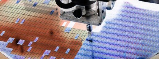 A picture of semiconductor chip production