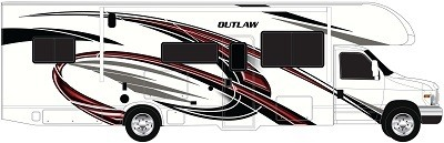 A picture of Thor Motor Coach 2022 Outlaw with new red exterior color