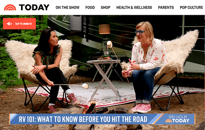 A picture of the Today Show segment features RVIA and Go RVing on June 14
