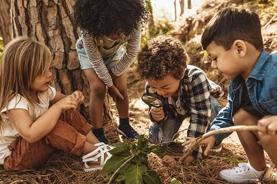 A picture of kids playing outside together
