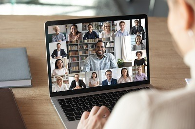 A picture of remote workers in a virtual conference