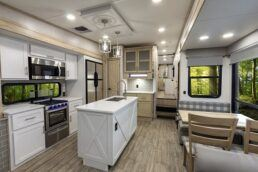 An interior view of the 2022 Alliance Avenue mid-profile fifth wheel