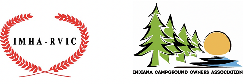 A picture of Indiana campground logos from the IMHA-RVIC and the Indiana Campground Owners Association
