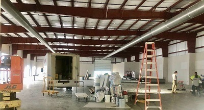 A picture of construction work underway at the manufactured housing museum at the RV/MH Hall of Fame