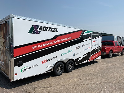 An exterior view of the Airxcel mobile showcase, debuted at the Winnebago Grand National Rally