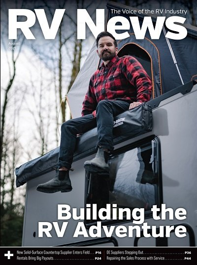 A picture of the cover of the August 2021 issue of RV News