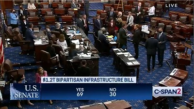 A screen capture of C-Span's coverage of the Senate infrastructure bill passage with 69 voting in favor of passage.