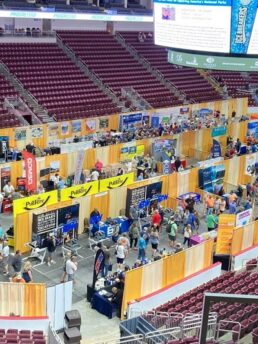 A picture of the exhibitor floor at the Giant Center during America's RV Show in Hershey, Pennsylvania