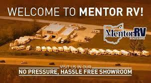 A picture of Mentor RV in Ohio welcome customers to its lot