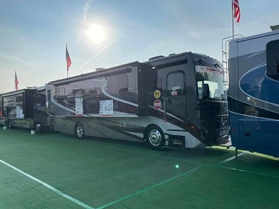 A picture of Fleetwood RV's 2022 model exterior shot on display at America's RV Show in Hershey, Pennsylvania