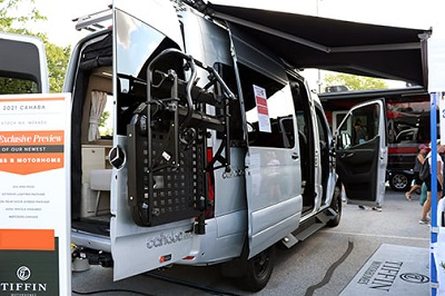 A picture of the Tiffin Cahaba Type B motorhome on display at America's RV Show in Hershey, Pennsylvania