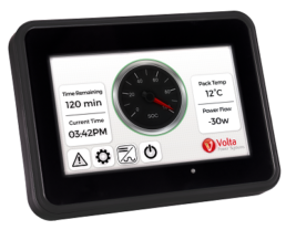 A picture of Volta Power Systems' low-profile inverter touchscreen used in Tiffin Motorhomes' Type B Cahaba