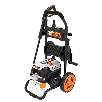 A picture of the Worx 2000 PSI Electric Pressure Washer on a carrying cart