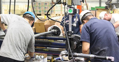 A picture of Dexter Axle employees manufacturing products at the Elkhart company facility