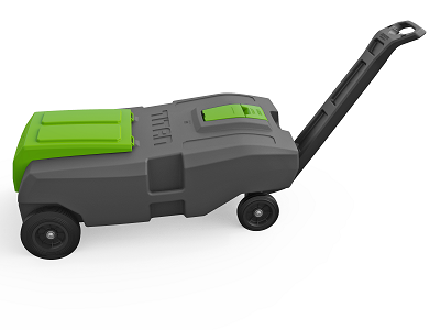 A picture of the Thetford Titan Tote Premium Waste Tank with four wheels